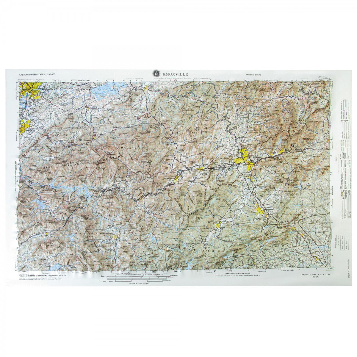 Knoxville, TN Regional Raised Relief Map - The Map Shop
