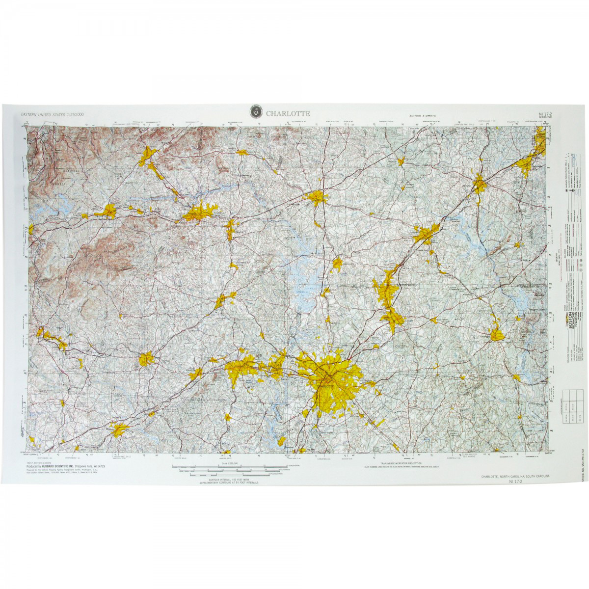 Charlotte, NC Regional Raised Relief Map - The Map Shop
