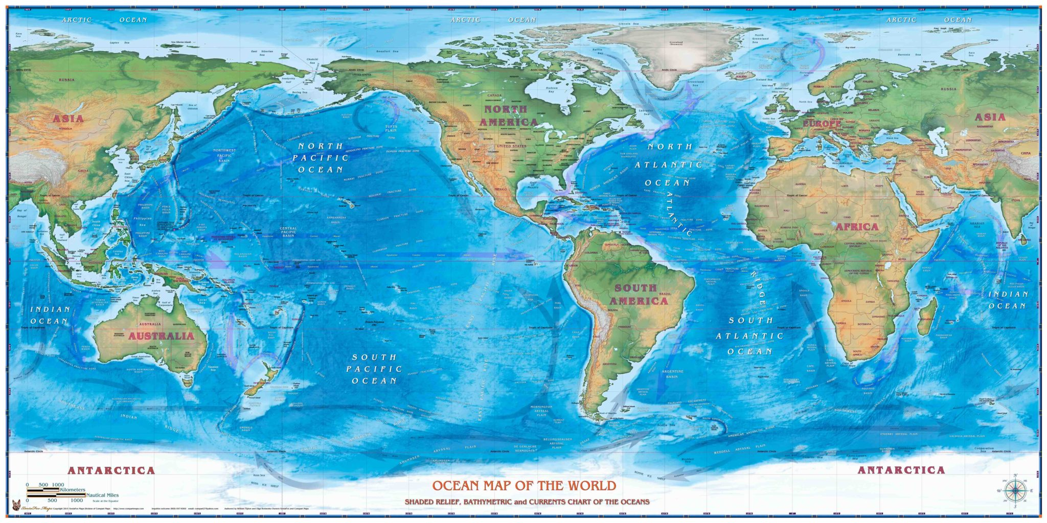 Map Of World And Oceans.World Oceans Map The Map Shop