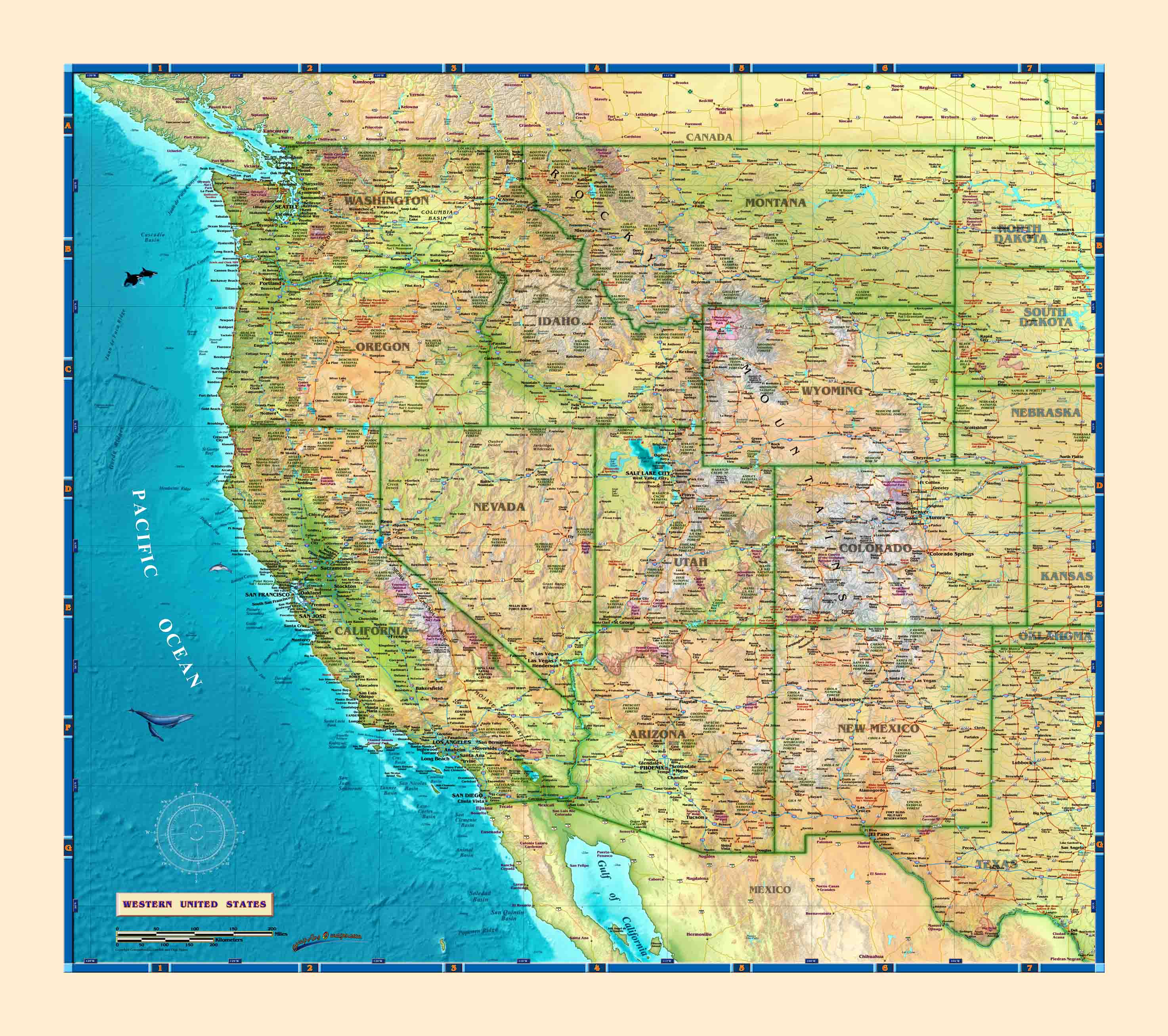 Western USA Wall Map - The Map Shop
