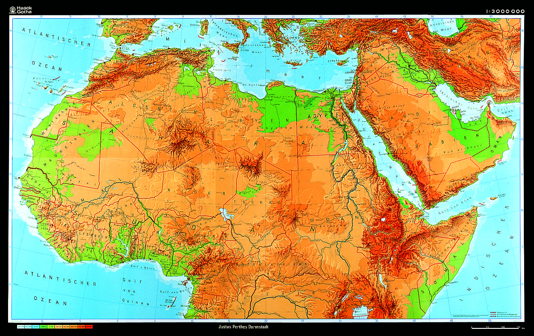 North Africa Map Physical Northern Africa Physical Map   The Map Shop