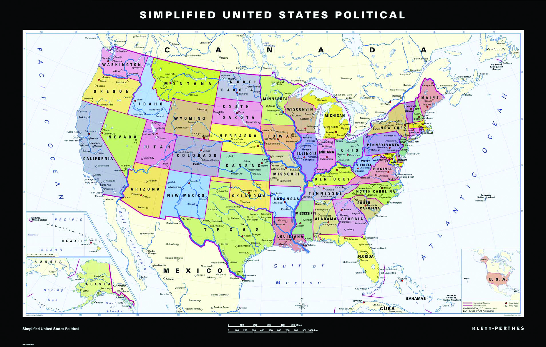 Simplified United States Political Map