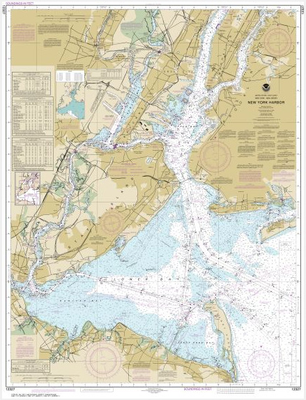 Map Of New York Harbour.Noaa Chart New York Harbor 12327 The Map Shop
