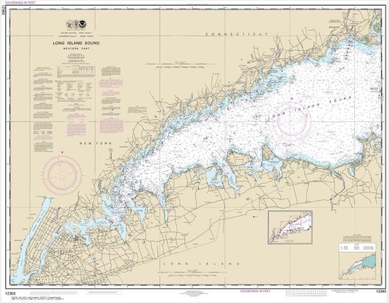 Noaa chart long island sound western part 12363 the map shop