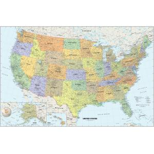 United States Map With Scale.U S Wall Maps Laminated Framed Rails Spring Rollers Map Shop