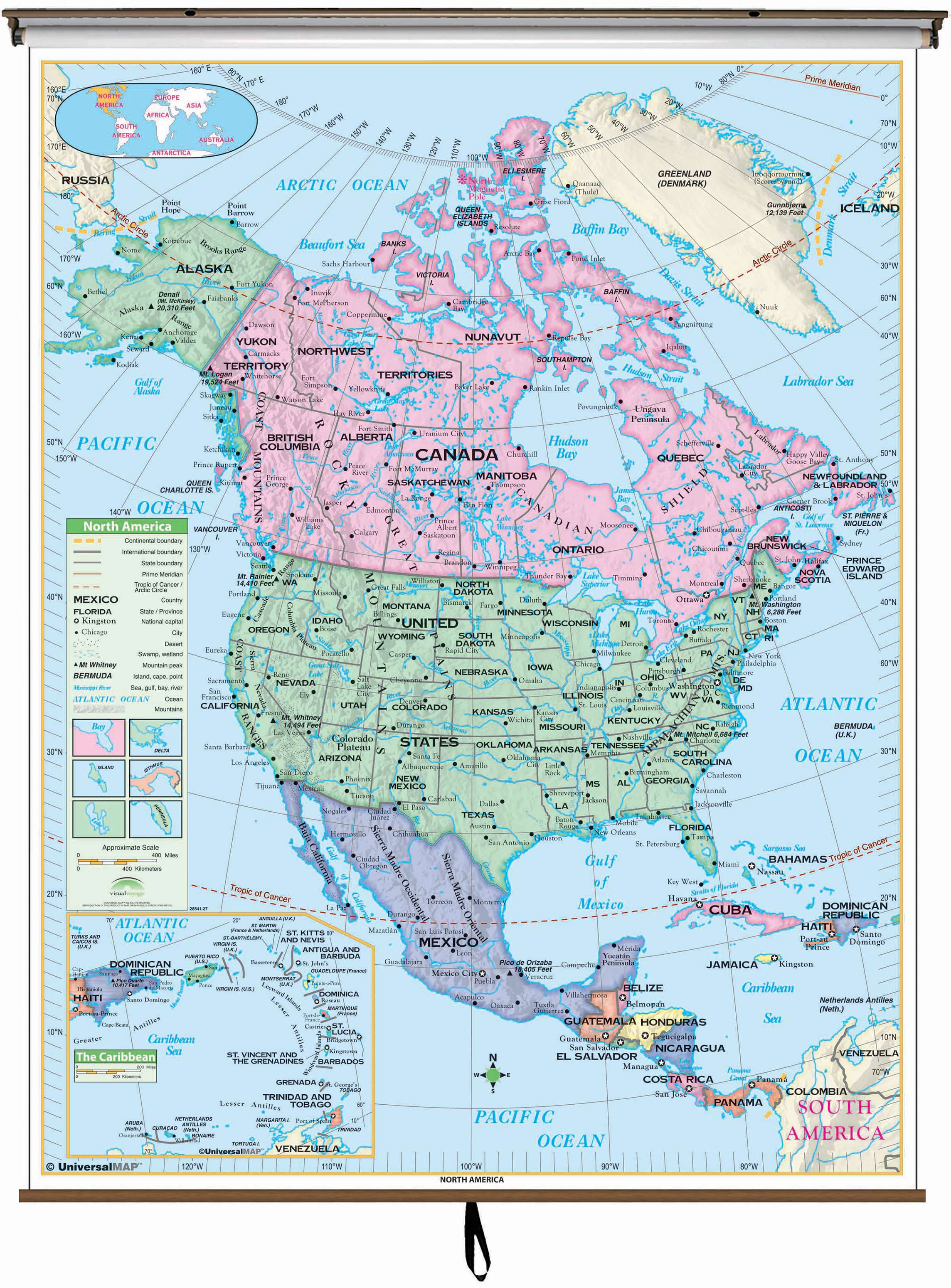 North America Essential Clroom Wall Map on Roller w/ Backboard on letter n america, map latin america, map of america, map o america, globe n america, map n orleans, map central america, time zone america,