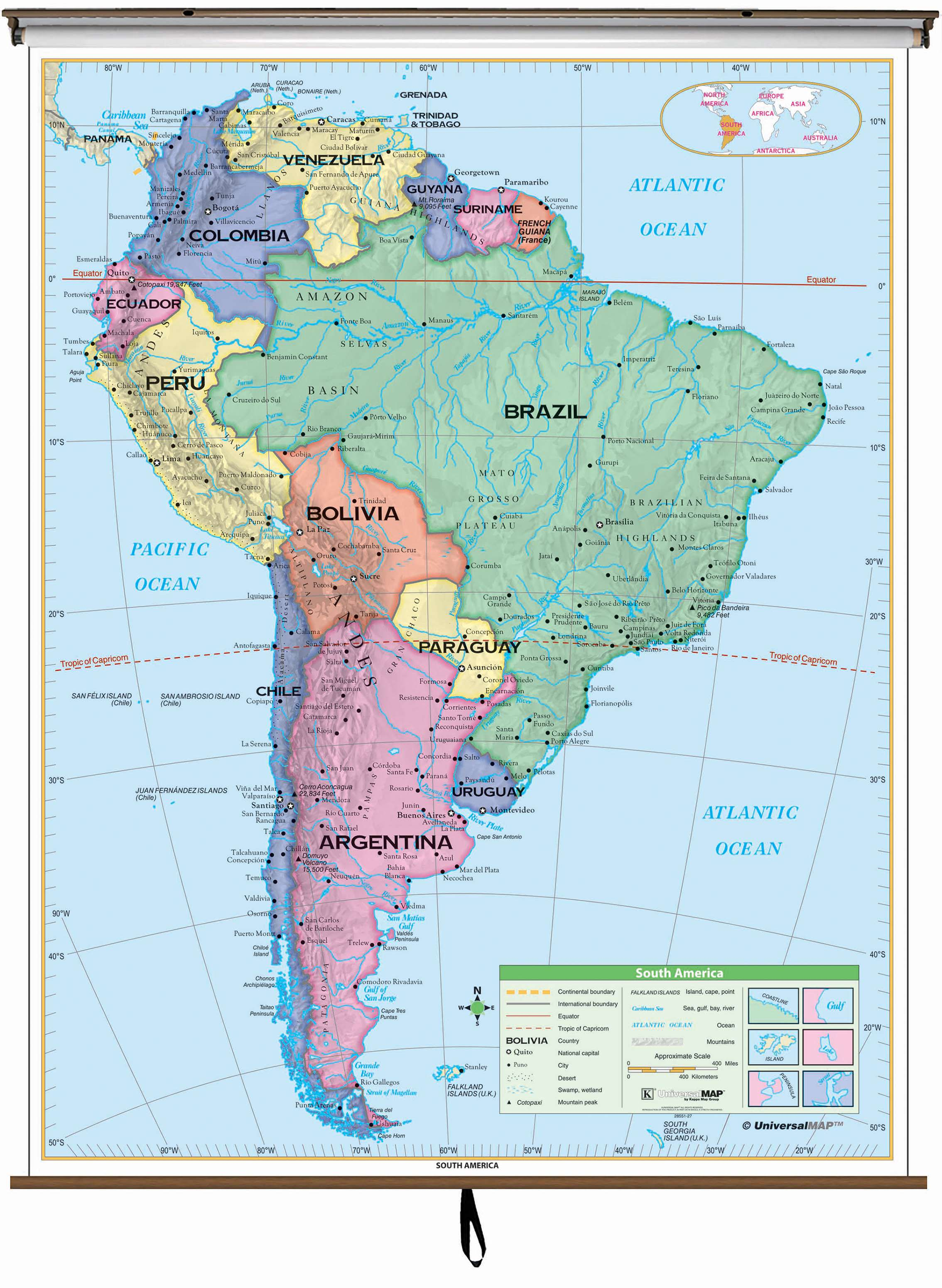 South America Essential Clroom Wall Map on Roller w/ Backboard ... on
