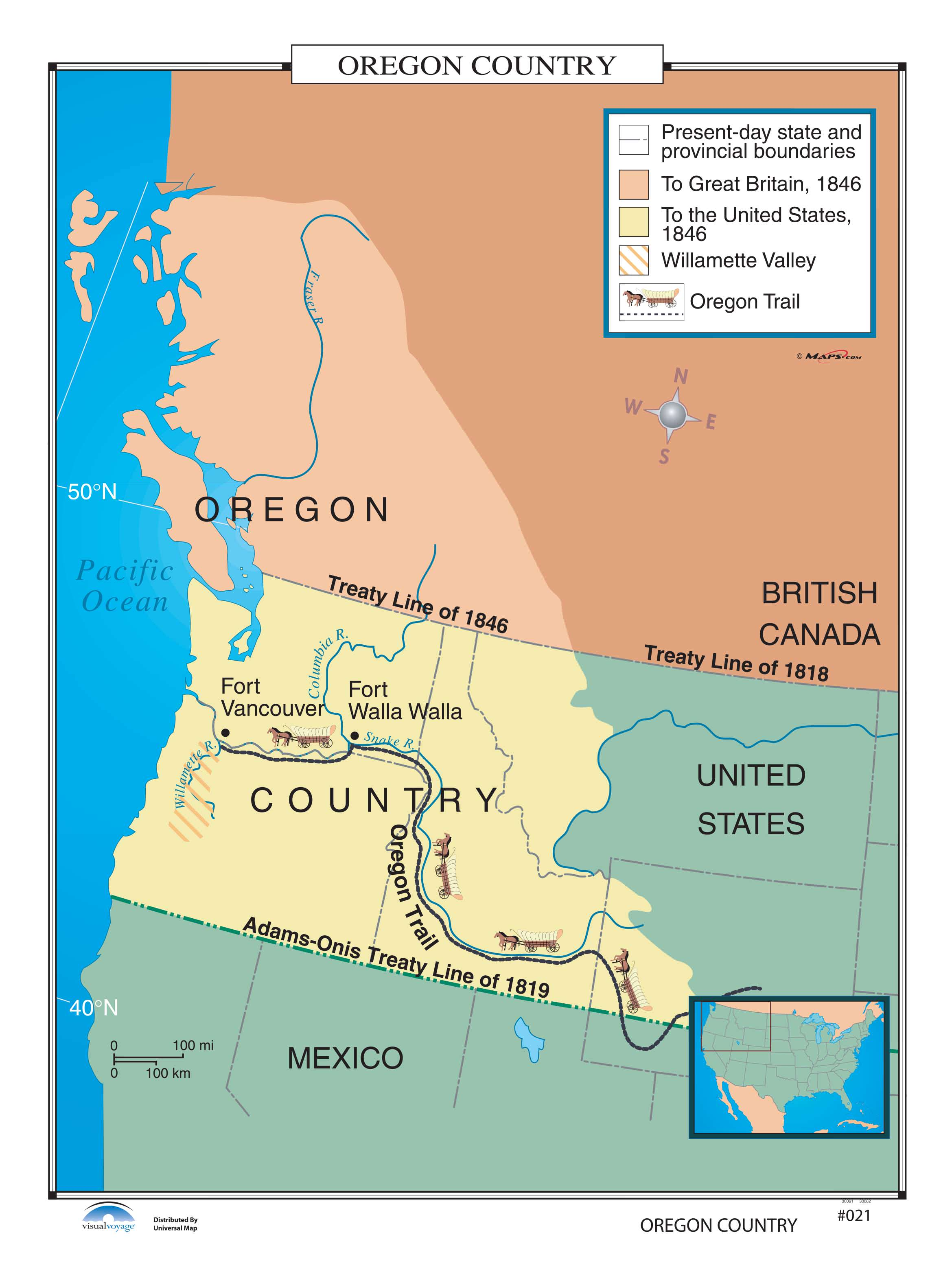 021 Oregon Country on Roller w/ Backboard   The Map Shop