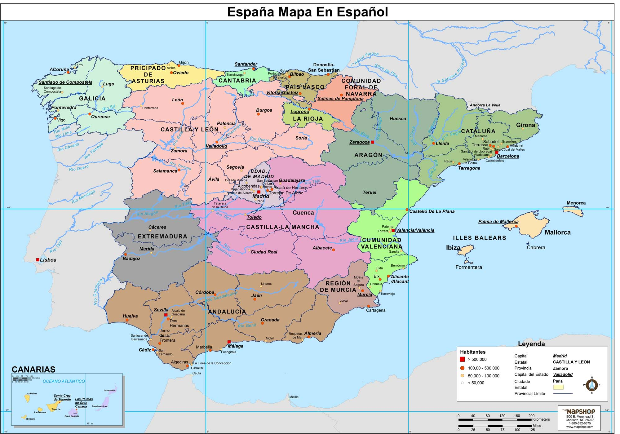 Spanish Map Of Spain.Spain Wall Map In Spanish