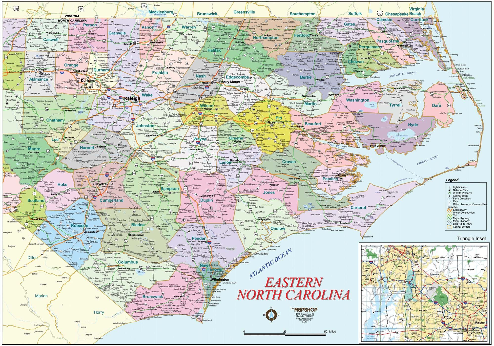 Eastern North Carolina Wall Map - The Map Shop