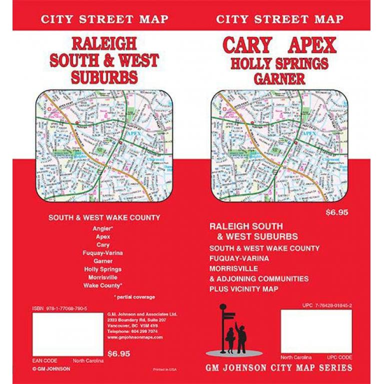 Cary, Apex, Raleigh NC South & West Folding Travel Map - The Map Shop