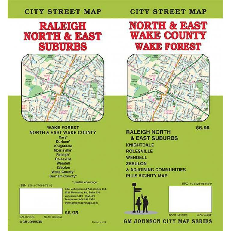 Wake Forest, Wake County & Raleigh, NC Folding Travel Map