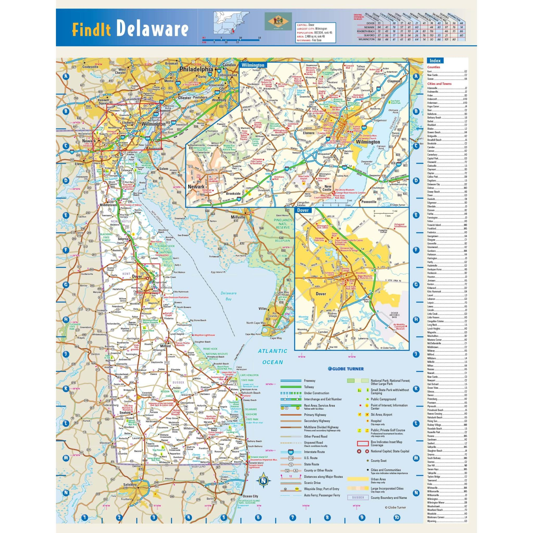 Delaware State Wall Map - The Map Shop on