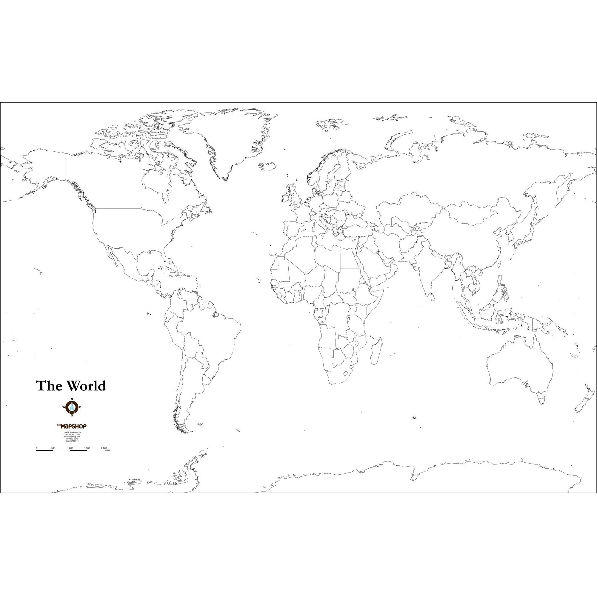 Blank World Outline Wall Map The Map Shop