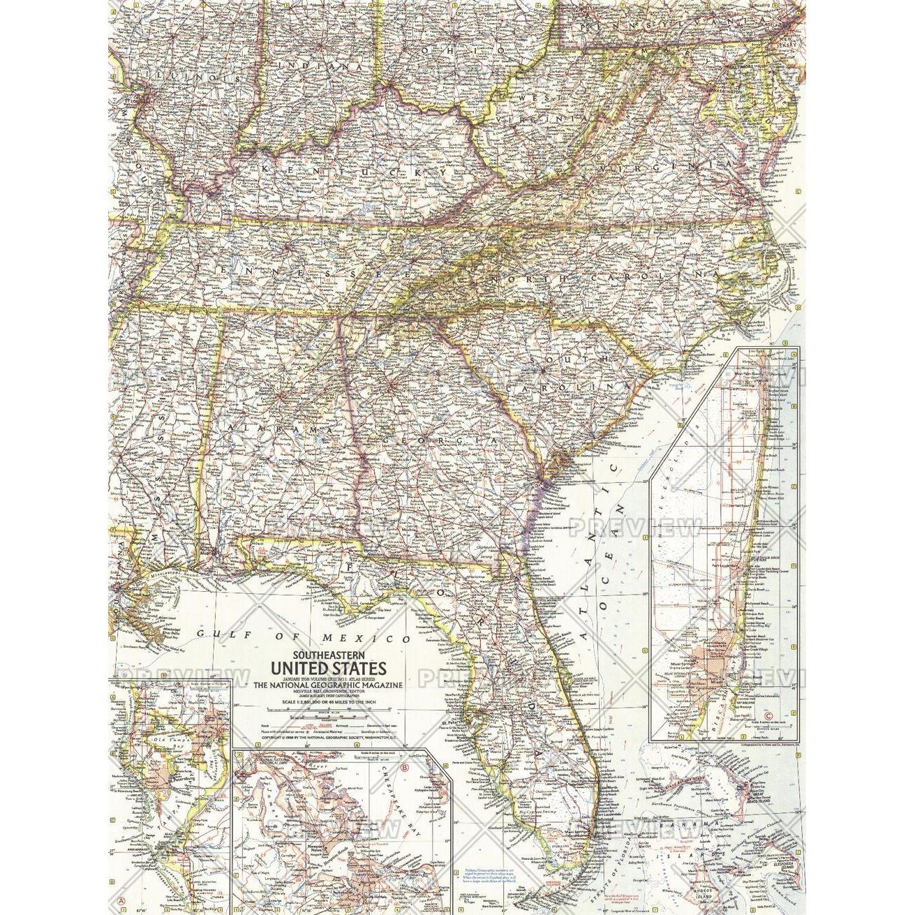 Southeastern United States - Published 1958 - The Map Shop
