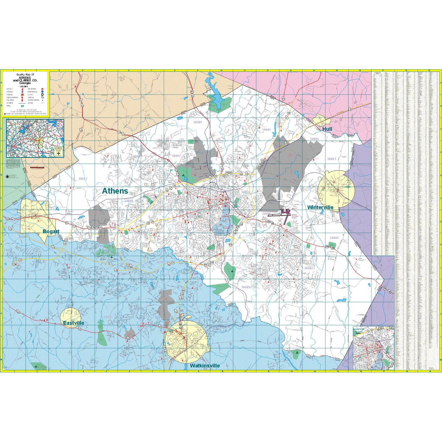 Athens and Clark County, GA Wall Map - The Map Shop on