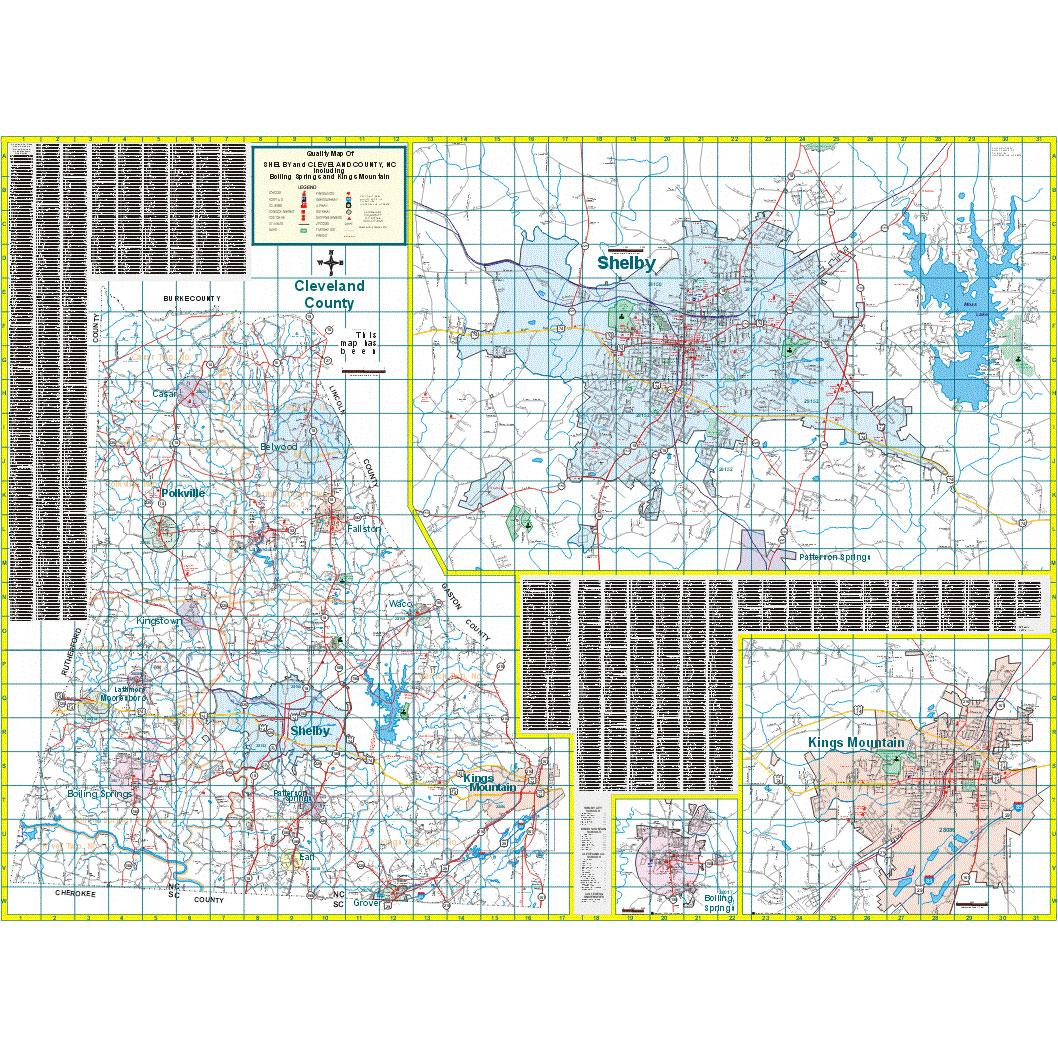 Shelby and Cleveland County, NC Wall Map - The Map Shop on