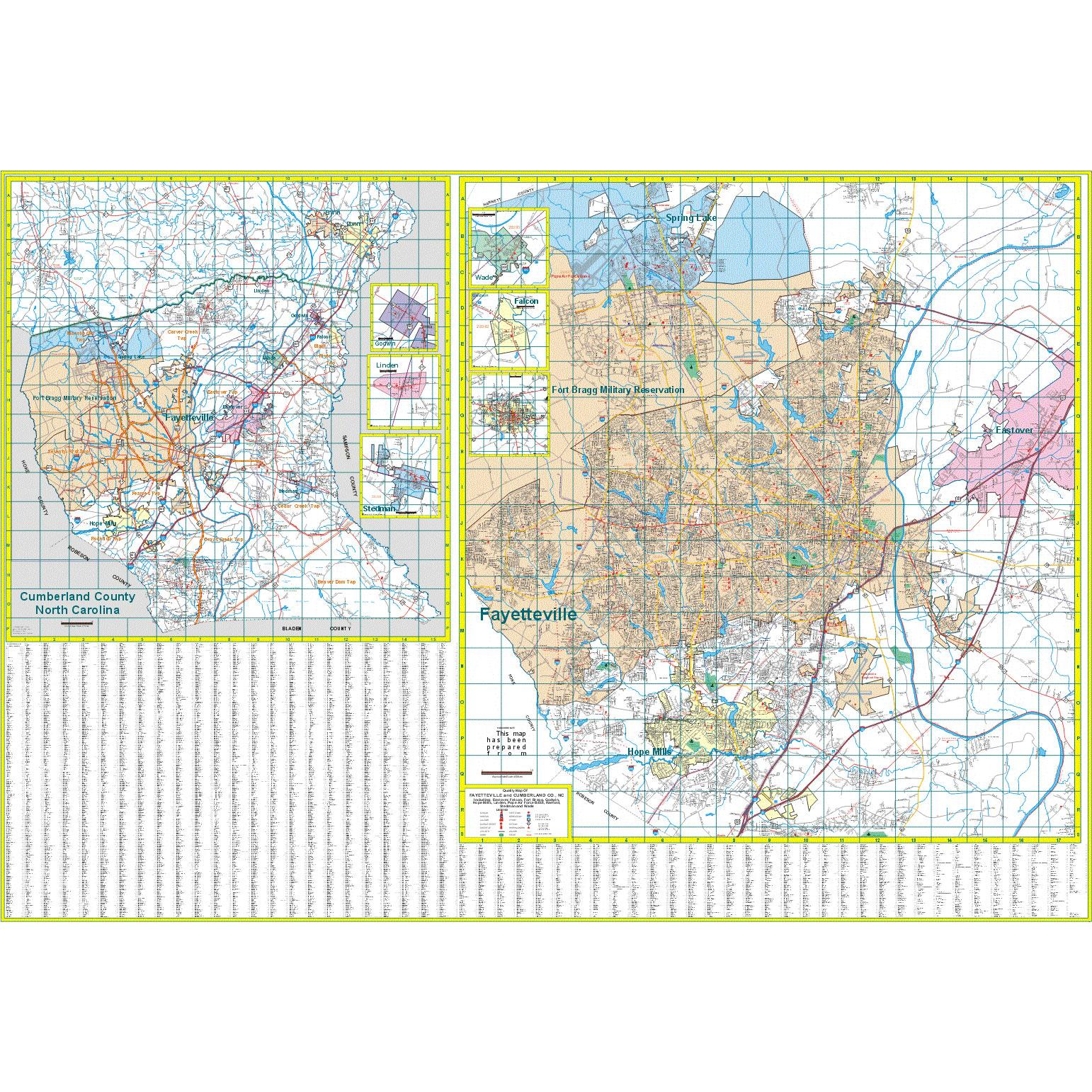 Fayetteville And Cumberland County Nc Wall Map The Map Shop