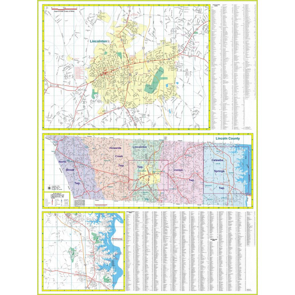 Lincoln County Nc Wall Map The Map Shop