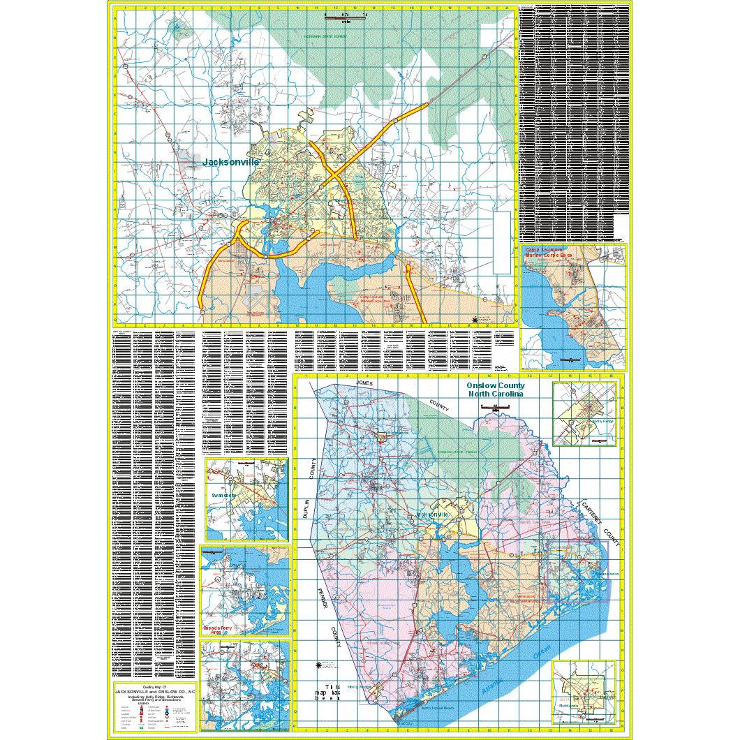 Jacksonville And Onslow County Nc Wall Map The Map Shop
