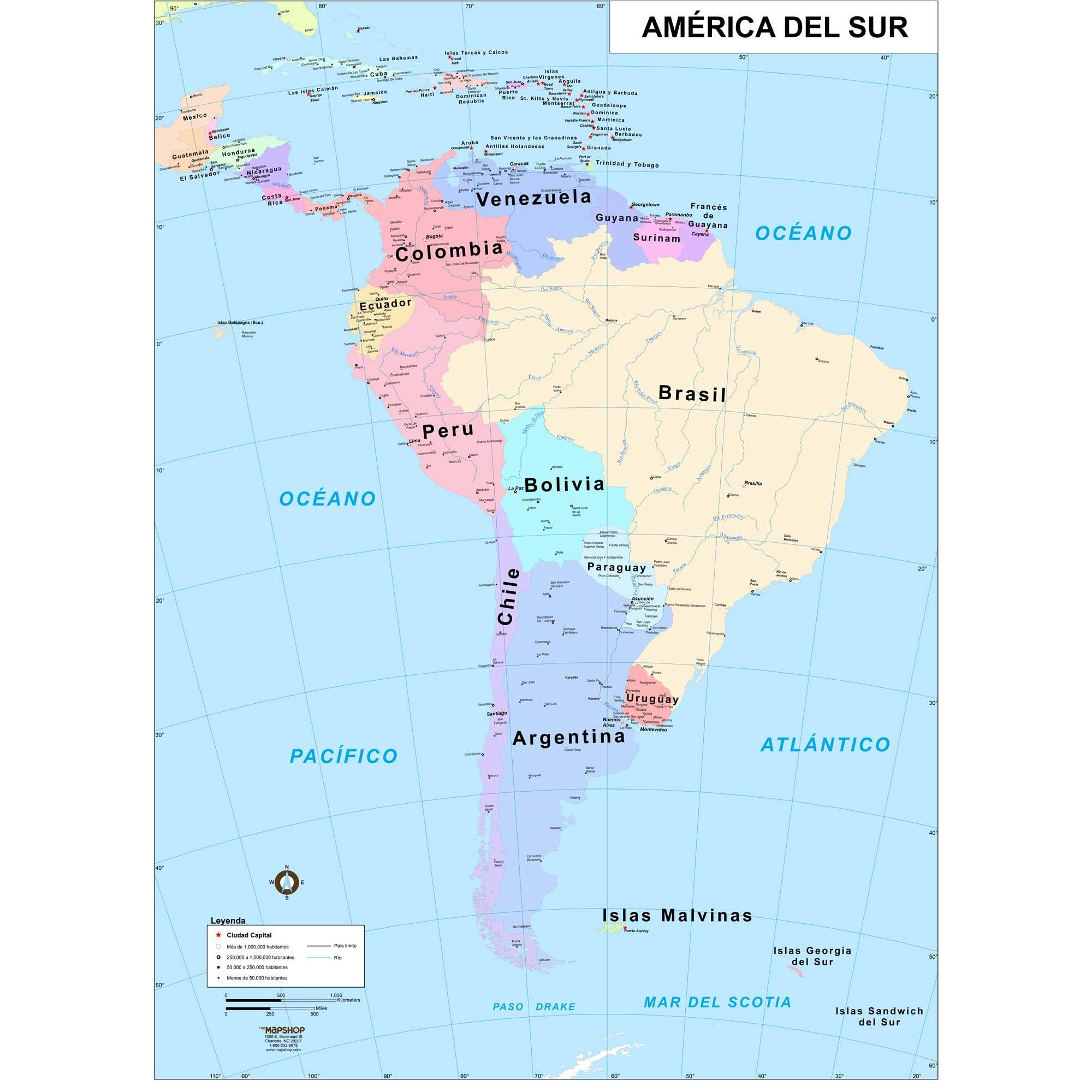 South America Wall Map in Spanish