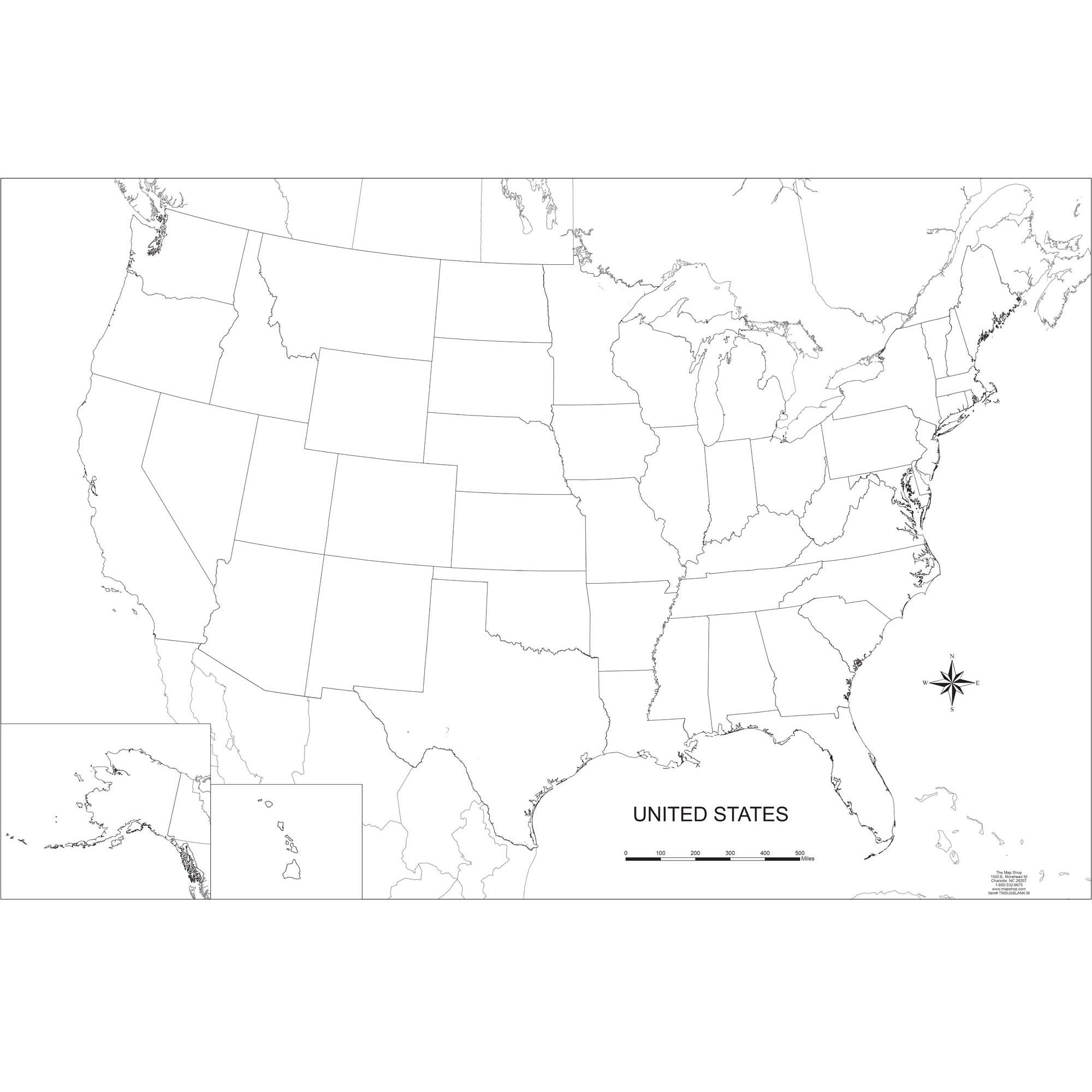 Blank United States Outline Wall Map The Map Shop