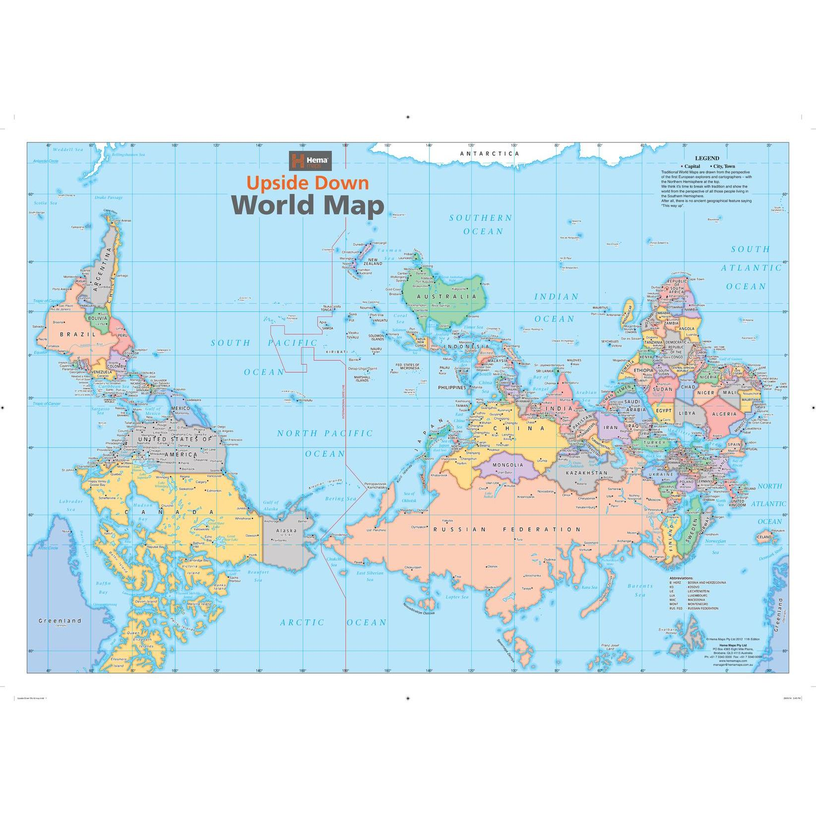 Upside Down World Map Upside Down World Wall Map   The Map Shop